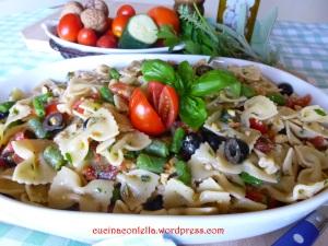 cravattine con fagiolini e pomodori secchi